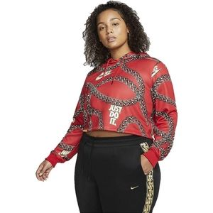 Nike Red Icon Clash Chains Graphic Cropped Hoodie
